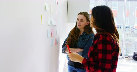 yapışkan : Female executives discussing over sticky notes in office