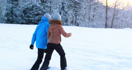 bonding : Couple interacting while walking in snowy forest Stock Footage