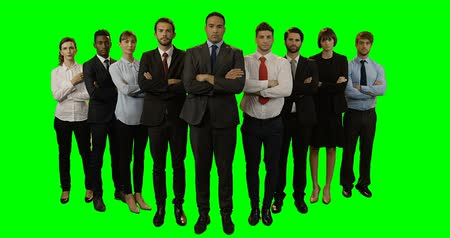 смешанной расы человек : Group of business executives standing with arms crossed against green background