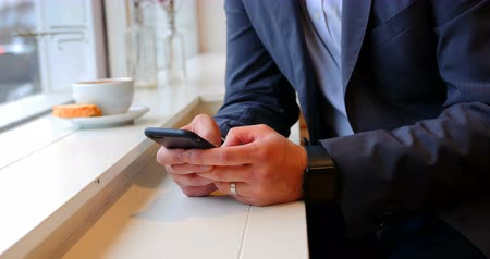 ludzik : Mid section of businessman using mobile phone in café