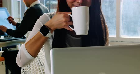 feketés csésze : Female executive using laptop while having coffee in office Stock mozgókép