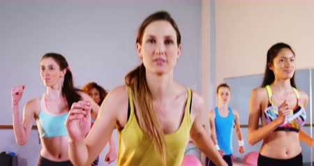 aeróbica : Group of women performing aerobics exercise in the fitness studio