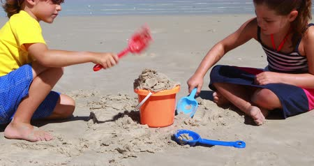 сестра : Siblings playing at the beach on a sunny day