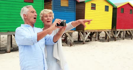 elliler : Senior couple clicking photo on camera at the beach on a sunny day Stok Video