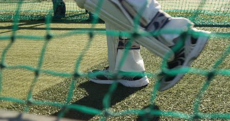 batting pads : Cricket player walking on the pitch during a practice session on cricket ground