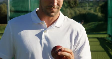 kriket : Confident cricket player holding ball during a practice session on cricket ground Stok Video