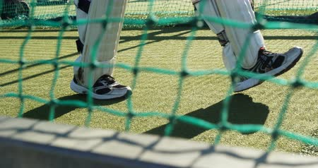 cricket pads : Cricket player walking on the pitch during a practice session on cricket ground