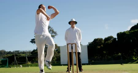 kriket : Bowler delivering ball during match on cricket field