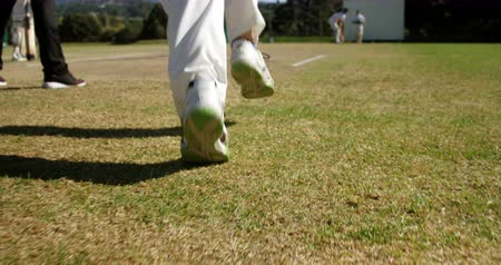 batedor : Bowler delivering ball during match on cricket field