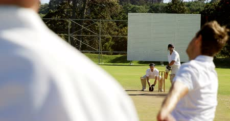 wicket : Bowler delivering ball during match on cricket field