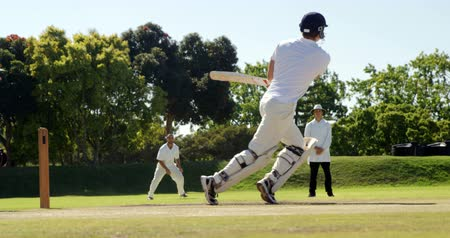 wicket : Batsman hitting a ball during match on cricket field
