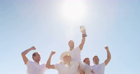 trofej : Happy cricket team with trophy on cricket field Dostupné videozáznamy