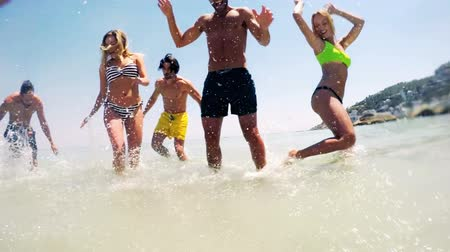 beautiful day : Group of friends dancing in sea on a sunny day Stock Footage