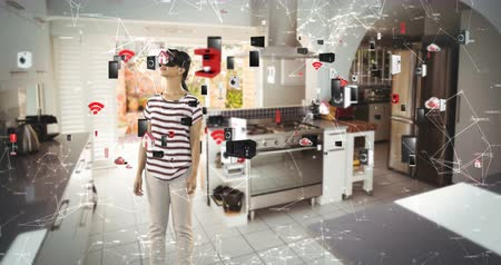 dijital oluşturulan görüntü : Woman using virtual reality headset with digitally generated icons at home 4k Stok Video