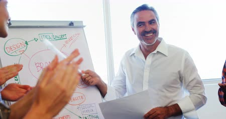 flip chart : Executives applauding their colleague while giving presentation on flipchart 4k in office Stock Footage