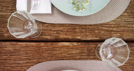 příbory : Close-up of various cutlery on wooden table 4k