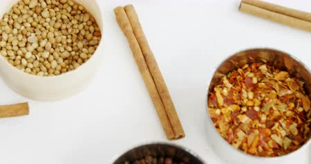 cominho : Close-up of various type of spices in bowl 4k
