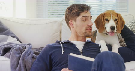 ler : Smiling man sitting on ground stroking his pet while reading book at home 4K