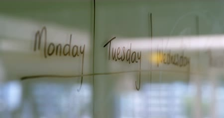 týden : Weekly schedule written on white board in the office 4k