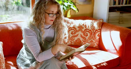 livro : Mature woman reading a book in living room at home 4k Vídeos