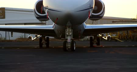 lavish : Private jet at terminal on a sunny day 4k