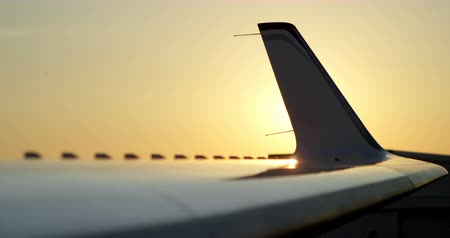 lavish : Private jet with part of tail wing at terminal 4 4k Stock Footage