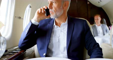 private : Mature businessman talking on mobile phone while travelling in private jet 4k