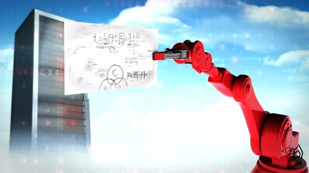 server room : Digitally generated video of red robotic arm holding card with mathematical formula near server against sky and cloud background