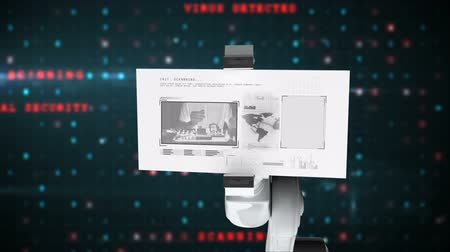 operators : Digitally generated video of white robotic arm holding card with research concept against digitally interface background