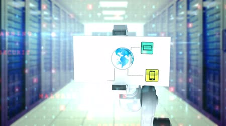 setting : Digitally generated video of white robotic arm holding card with networking icon against server room background Stock Footage