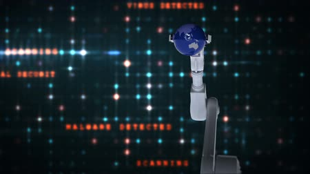 koruma : Digitally generated video of robotic hand presenting globe against binary code background