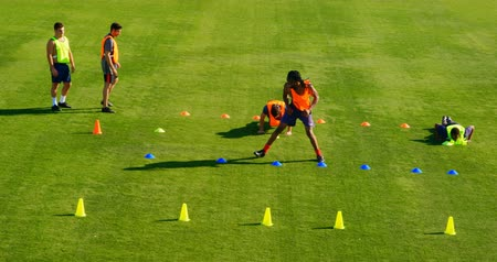 dureza : Football players exercising in the field on a sunny day 4k Vídeos