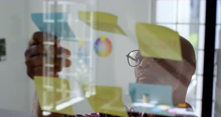 клейкий : Senior male executive looking at sticky notes in office 4k