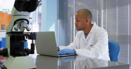 científico : Scientist using laptop in office 4k Stock Footage