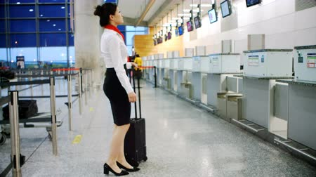 attendant : Airline check-in attendant walking with luggage at airport terminal 4k Stock Footage