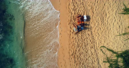 середине взрослых : Aerial view of tourists sitting together at beach 4k