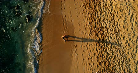 смешанной расы человек : Aerial view of Tourists walking at beach on a sunny day 4k