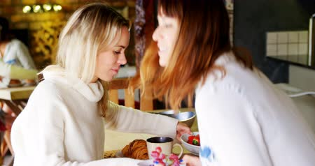 leszbikus : Lesbian couple having breakfast in kitchen at home 4k