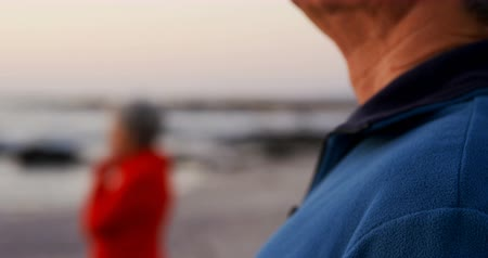 active ageing : Senior couple standing in the beach at dusk 4k Stock Footage