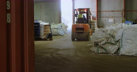 discard : Rear view of male worker operating forklift in warehouse 4k Stock Footage