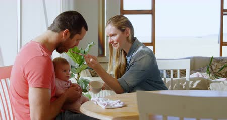 невинность : Parents feeding their baby boy at home 4k