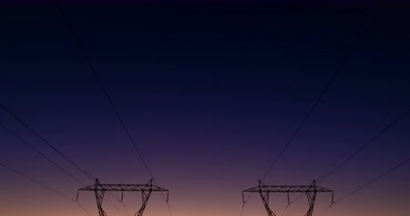 powerline : High voltage electric poles during sunset 4K 4k