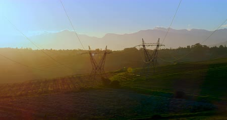 powerline : High voltage electric poles on farmland during sunrise 4K 4k