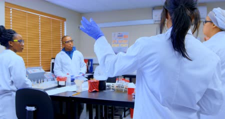 laboratório : Team of scientists interacting with each other in laboratory 4k