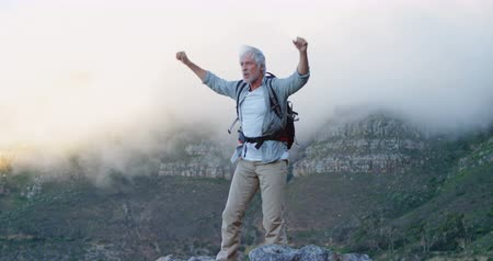 active ageing : Active senior man standing with arms up on a rock at countryside 4k