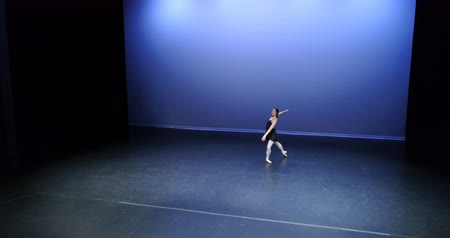 balanceamento : Beautiful ballet dancer dancing on stage 4k