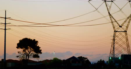 pilon : Electricity pylons during sunset at countryside 4k