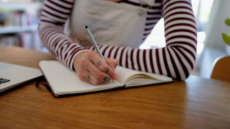 diary : Mid section of woman writing on diary at home 4k Stock Footage