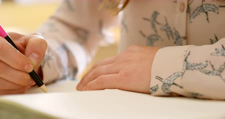 craftswoman : Close-up of jewelry designer sketching on white paper 4k Stock Footage
