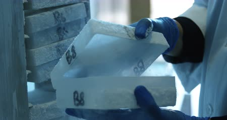 precyzja : Mid section of scientist opening test tube box from freezer 4k